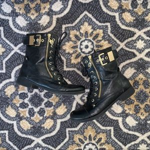G By Guess | Black & Gold Combat Boot